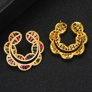 Image 4 - GODKI Sunflower Charms 2PC Nigerian Necklace Earring Jewelry Set For Women Wedding Cubic Zircon Indian Dubai Bridal Jewelry Sets