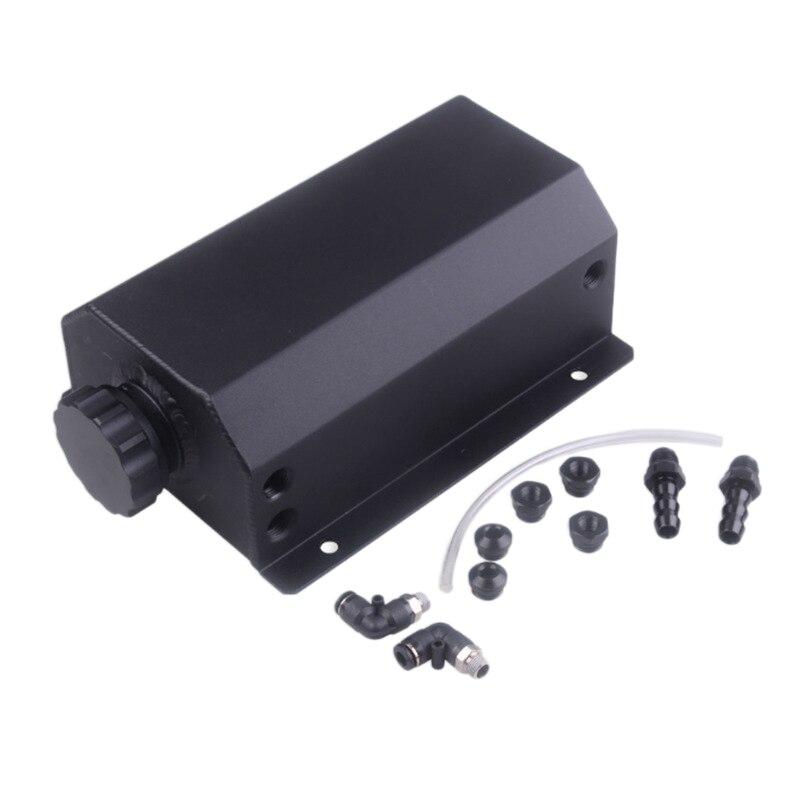 Otomobiller ve Motosikletler'ten Transmisyon Tamir Kitleri'de 2L alüminyum alaşımlı motor yakıt deposu yağ nefes Pot egzoz filtresi evrensel araba aksesuarları siyah title=