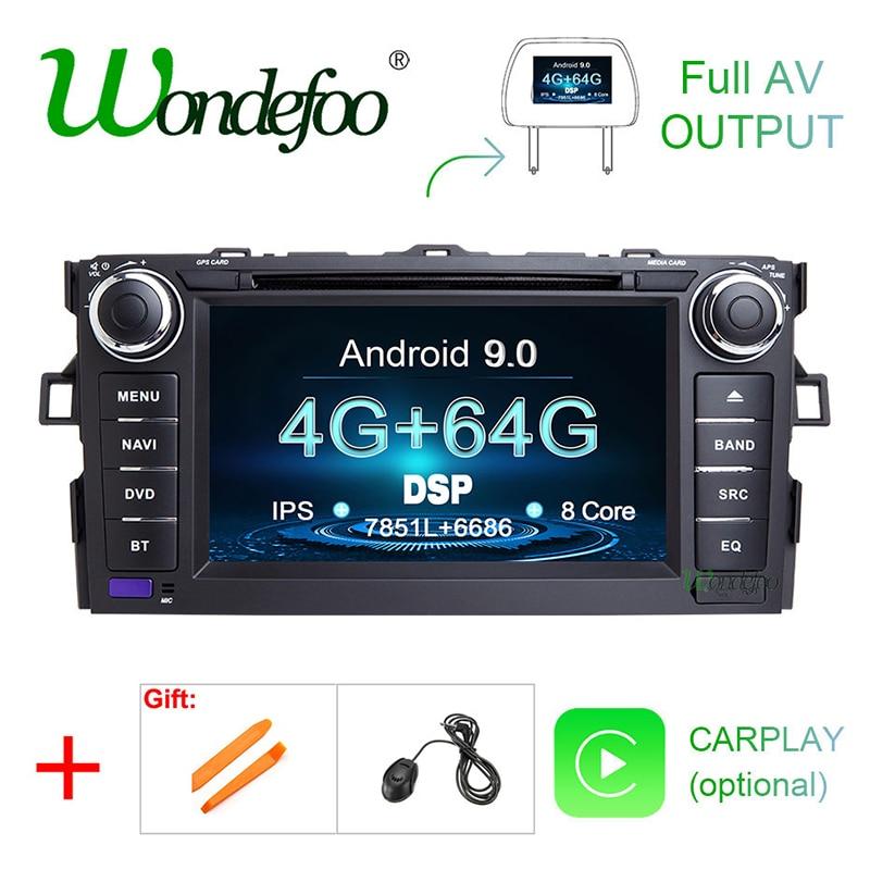 DVD-плеер с IPS-экраном, Android 9,0, 4 гб, 64 гб, 2 DIN, для TOYOTA AURIS, Altis, COROLLA 2012, 2013, GPS-навигация, стерео приемник