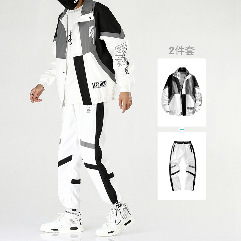 Military Hip Hop Tracksuit Men Pocket Loose White Casual Jacket Men Long Sleeve Street Korean Mens Clothes Set Spring B60