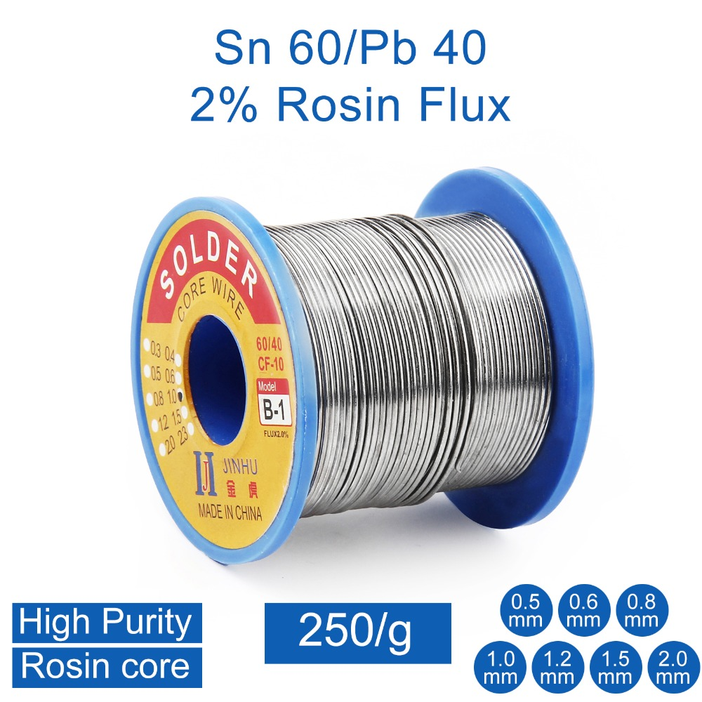 250g 0.5mm 0.6mm 0.8mm 1.0mm 2.0mm <font><b>60</b></font>/<font><b>40</b></font> Tin Lead Rosin Core <font><b>Solder</b></font> Wire for Electrical repair, IC repair image