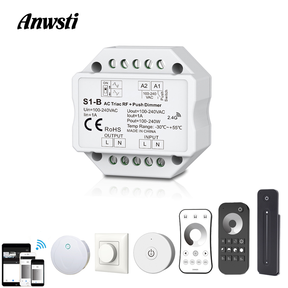 <font><b>LED</b></font> <font><b>Dimmer</b></font> Triac 220V 110V 230V AC Dimmable Push Switch RF 2.4G Wireless <font><b>Remote</b></font> Smart Wifi <font><b>Dimmer</b></font> Switch for <font><b>LED</b></font> Bulb Light Lamp image