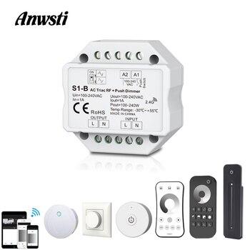 Atenuador LED Triac 220V 110V 230V AC interruptor de empuje regulable RF 2,4G remoto inalámbrico Wifi inteligente interruptor de atenuación para lámpara de bombilla LED