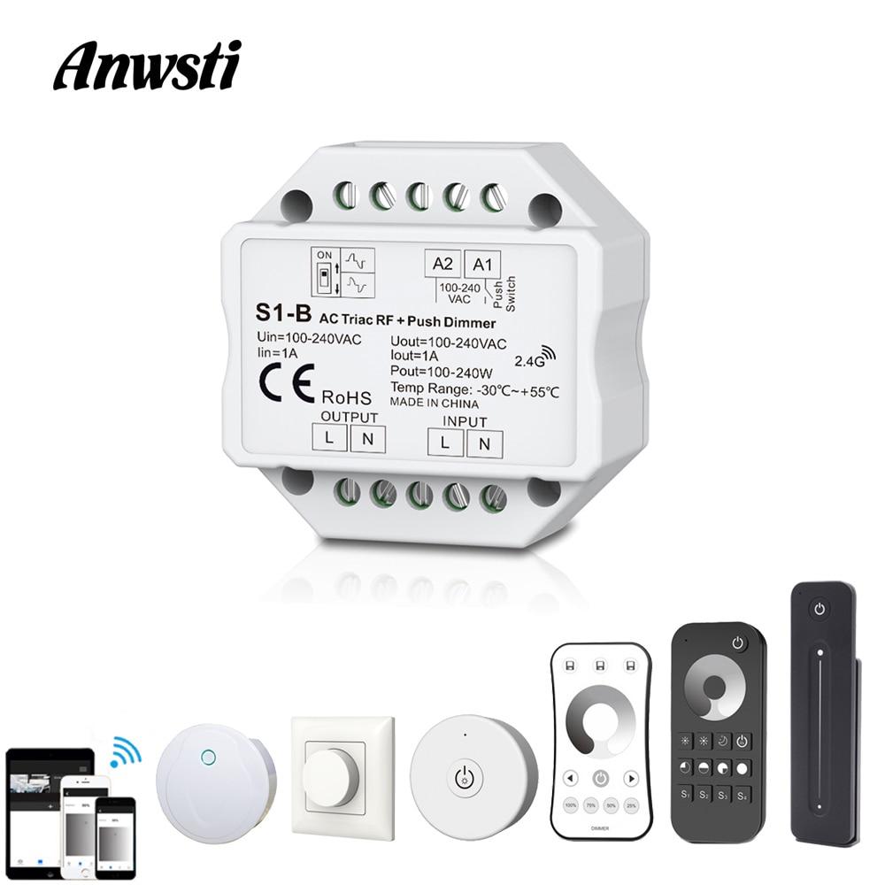 LED 調光器のトライアック 220V 110V 230V AC 調光対応プッシュスイッチ RF 2.4 グラムワイヤレスリモートスマート無線 Lan 調光器スイッチ Led 電球ライトランプ