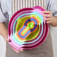 PP 10pcs Colorful Kitchenware Baking Cooking Tools Measuring Spoon Cup Salad Dishwashing Bowl Multifunction Kitchen Accessories