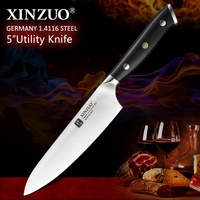 XINZUO 5'' inch Utility Knife German 1.4116 Stainless Steel Kitchen Paring Knives with Ebony Handle New Arrival Meat Vegetable|Kitchen Knives| |  -