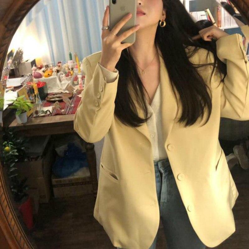 Mulheres Primavera Blazers Jaquetas Casaco Casuais Longo Entalhado Colarinho Amarelo Chaqueta Mujer Bolso Outerwear Tamanho Mais Solto