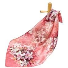 Чистый шелк женский шарф фиолетовый носовой платок шелковый шарф для волос Шея бандана платок квадратный шелковый шарф женский головной платок