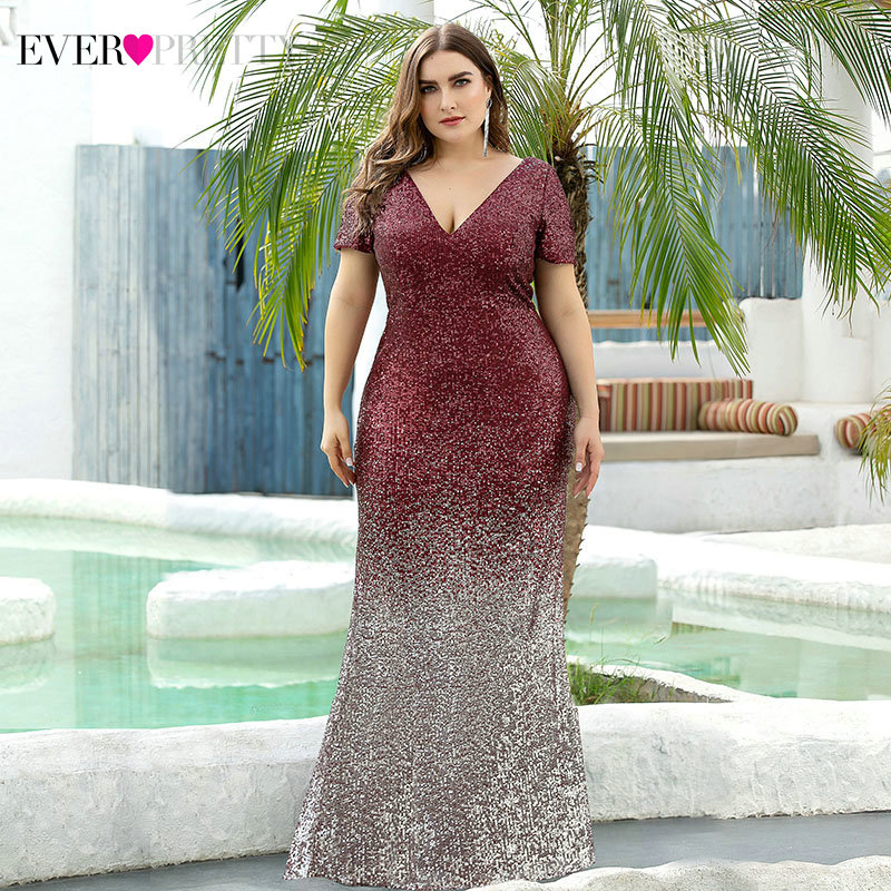 Plus Size Sequined Prom Dresses Ever Pretty Deep V-Neck Short Sleeve Draped Sparkle Mermaid Formal Party Gowns Vestidos De Gala