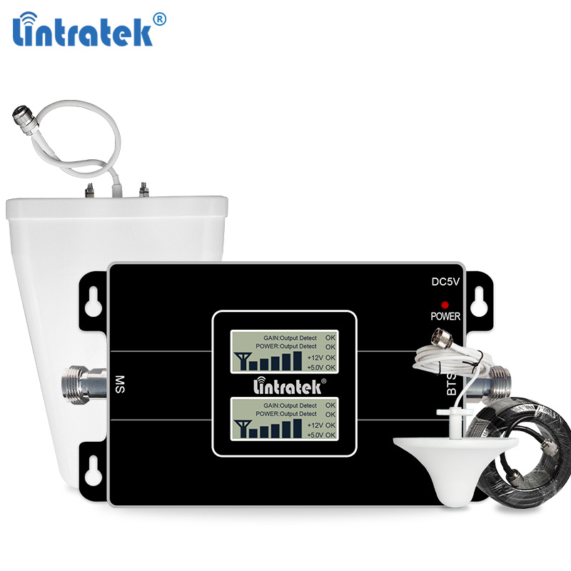 Lintratek 2G 3G Signal Booster GSM 900 3G 2100 Amplifier 2G 3G Signal Repeater GSM 900 2100 Dual Band 65dB KW17L-GW #6.3