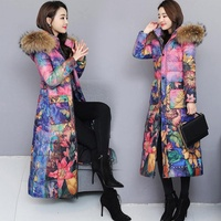 Parka Print long cotton down 2019 new winter coat women warm thicken outwear fur collar hooded jacket female plus size