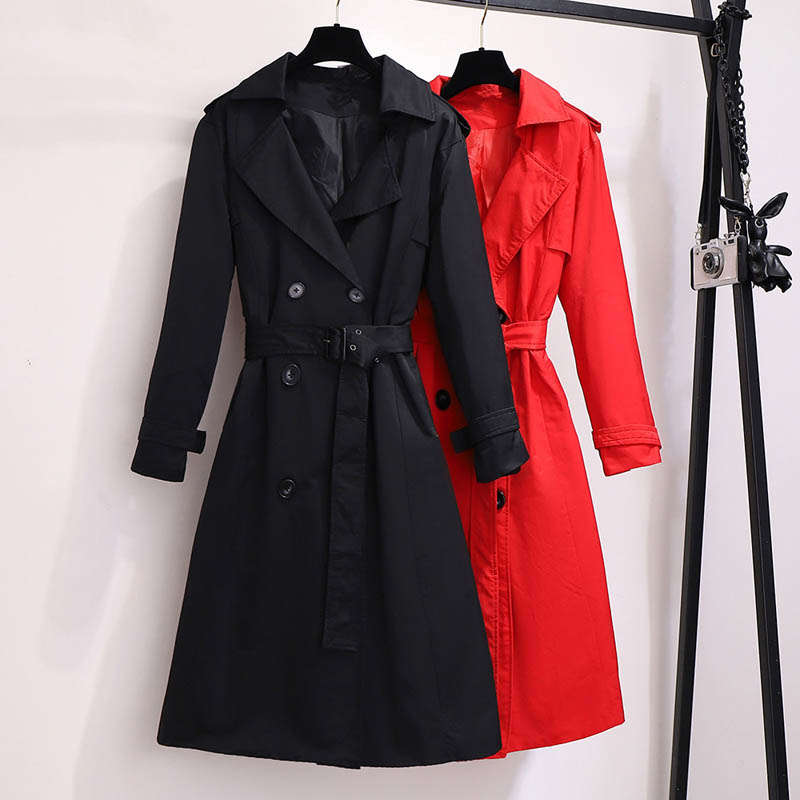 Trench-Coat Black Autumn 7XL Plus-Size 5XL 8XL 9XL 6XL Red-Colors 150cm Bust title=