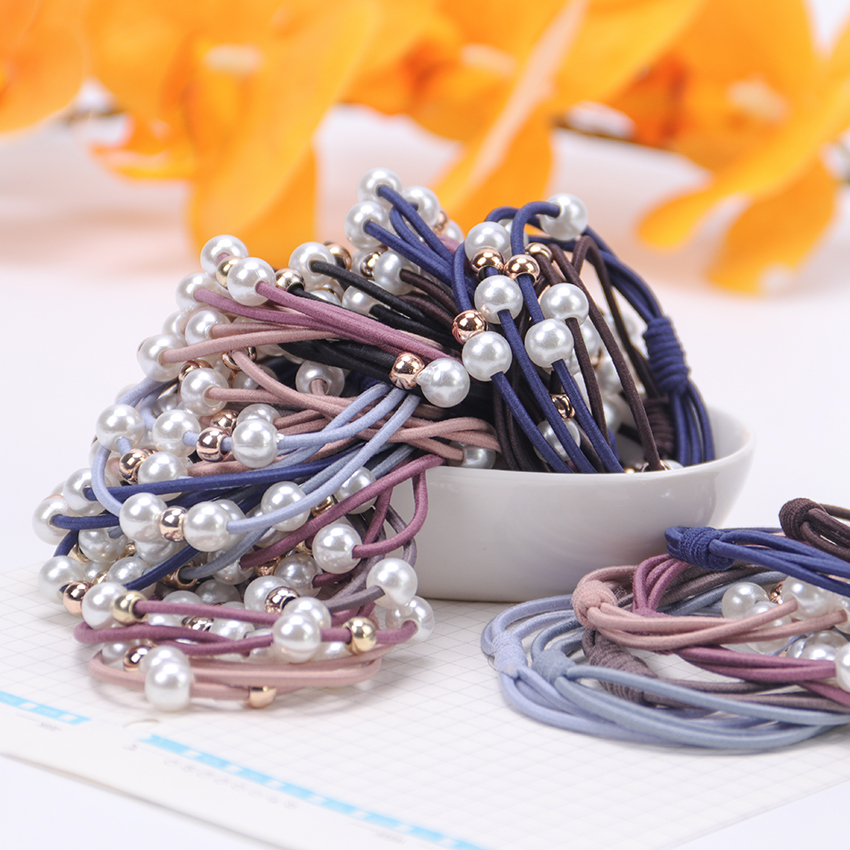 5PCS Hair Accessories Girl Headband Rubber Band Imitation Pearls Ball Star Elastic Hair Bands Girl Jewelry For Women