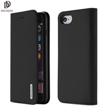 DUX DUCIS Genuine Leather Wallet Case for iPhone 8 7 Xs Vintage Magnetic Flip Cover for iPhone Xs Max XR X 7 8 6s 6 Plus Coque