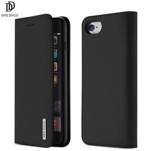 Image 1 - DUX DUCIS אמיתי עור ארנק מקרה עבור iPhone 8 7 Xs בציר מגנטי Flip כיסוי עבור iPhone Xs Max XR X 7 8 6s 6 בתוספת Coque