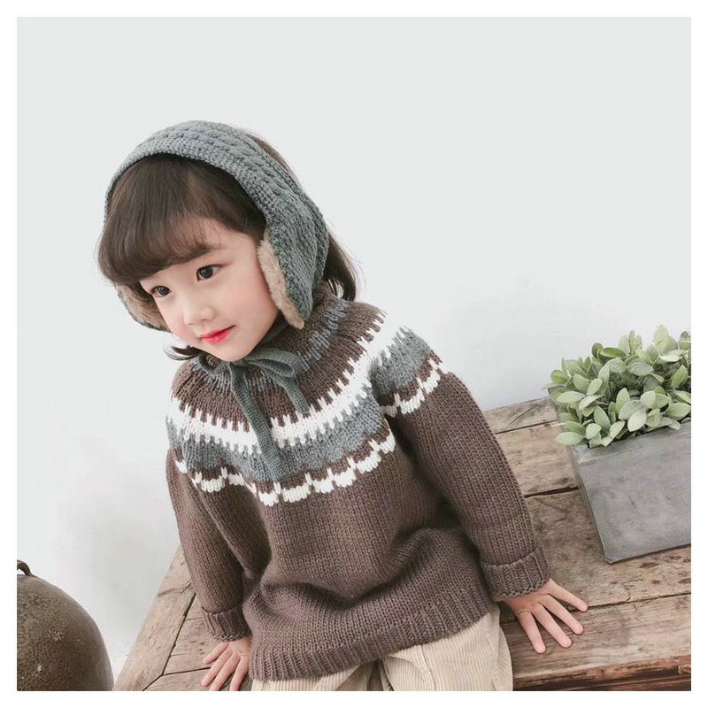 Fashion Winter Warm Baby Hat Children Knitted Scarf Girls Boys Earmuffs For Kids Ear Warmers Winter Accessories Wholesale