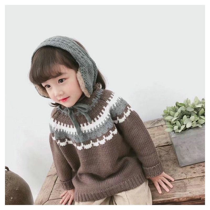 Fashion Winter Warm Baby Hat Children Knitted Scarf Girls Boys Earmuffs For Kids Ear Warmers Winter Accessories Wholesale