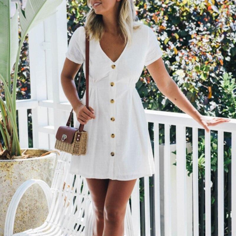 NEDEINS Plus Size Women Summer Dress Fashion Buttons High Waist V-neck Short Sleeve Dress Solid Streetwear Beach Sexy Dress
