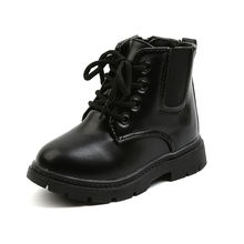 Классические глянцевые полностью черные детские короткие ботинки