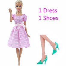 2 Pcs/Lot = 1x Pink Doll Dress Wedding Party Gown + 1x Green High Heels Shoes Clothes