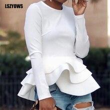 White Ruffle Blouse Autumn Winter Long Sleeve Women Tops Blouses Office Lady Elegant Shirts Black Red Casual Peplum Tops Female