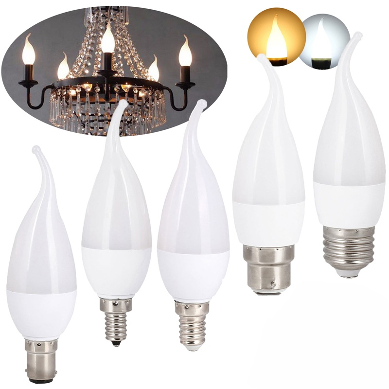<font><b>LED</b></font> Flame Chandelier Bulb 3W E12 E14 B22 E26 <font><b>E27</b></font> Candle 2835 SMD SMD Velas Decorativas Home Lighting Replace <font><b>30W</b></font> Halogen Lamps image