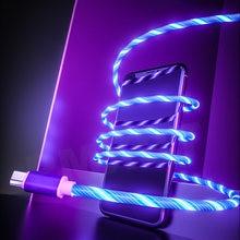 Светящийся кабель мобильный телефон зарядные кабели светодиодный
