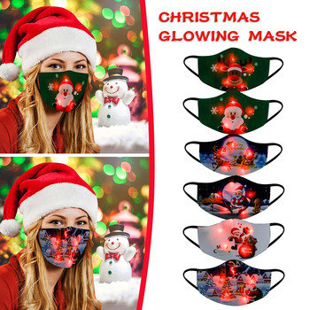 Adult Fashion New Christmas Luminous Mask Led Christmas Light Up Mask Christmas For Men And Women Fabric Cotton Mask Masker #K image