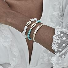 цена на Ingemark Punk Puka Shell Cowrie Bracelets for Women Anklet Delicate Rope Chain Green Stone Beads Cuff Bracelet Bangle for Women