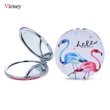 Vicney 2019 New Mini Pocket Cosmetic Mirror Fashion Flamingos Makeup Mirrors Compact Beauty Double-Sided Magnifier