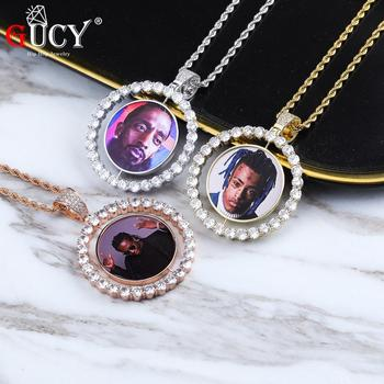 GUCY Custom Made Photo Rotating double-sided Medallions Pendant Necklace 4mm Tennis Chain Zircon Men's Hip hop Jewelry american cartoon emojis hold guns personality pendant set with zircon hip hop double color necklace accessories
