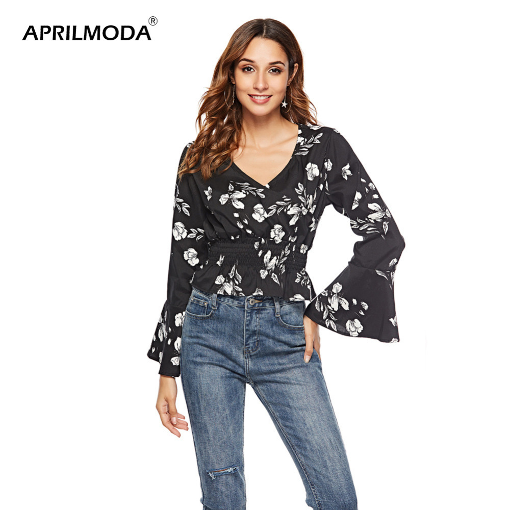 2020 Floral Chiffon Blouse Tops Shirt Pullover Lady's Casual Blouse For Women Summer Deep V-Neck Ruffles Full Flare Sleeve Blusa