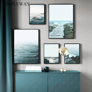 Nordic Decoration Sea Beach Ocean Waves Poster and Print Wall Art Picture Canvas Painting Modern Scandinavian Home Room Decor dancing butterfly abstract canvas painting wall art poster and print scandinavian decorative picture modern home decoration