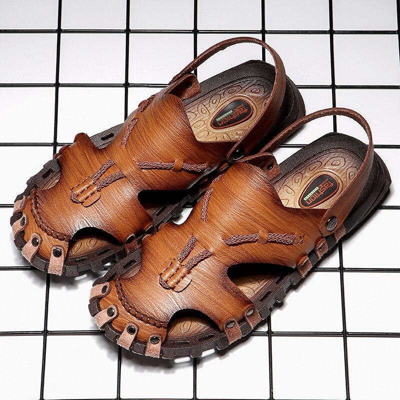 Мужские Кожаные Классические римские сандалии, пляжные резиновые шлепанцы, туристические сандалии, лето 2019|Сандалии|   | АлиЭкспресс