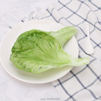 Sztuczne liście sałaty warzywnej symulacja fałszywe realistyczne dla domu strona kuchnia festiwal dekoracji D18 20 Dropship tanie i dobre opinie OOTDTY CN (pochodzenie) 1 pc app 19 5x13cm 7 68x5 12in