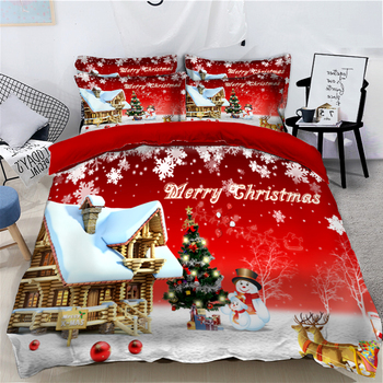 Red Christmas Snow Scene Bedding set Child Room Single/Double Bedding Soft Duvet Cover Pillowcase Bedding Cover New Year gift