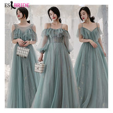 Gray-Green Bridesmaid Dresses V-Neck Appliques Elegant Long Dresses For Wedding Party ES3264 Vestidos De Madrinha(China)