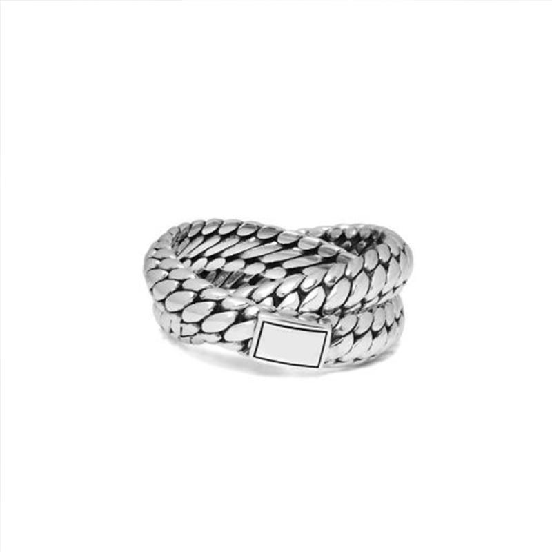 2019 Nueva joyería retro Cadena de motocicleta doble anillo de acero inoxidable joyería de oro encanto de bicicleta anillo punk Cadena de bordillo regalo VR385