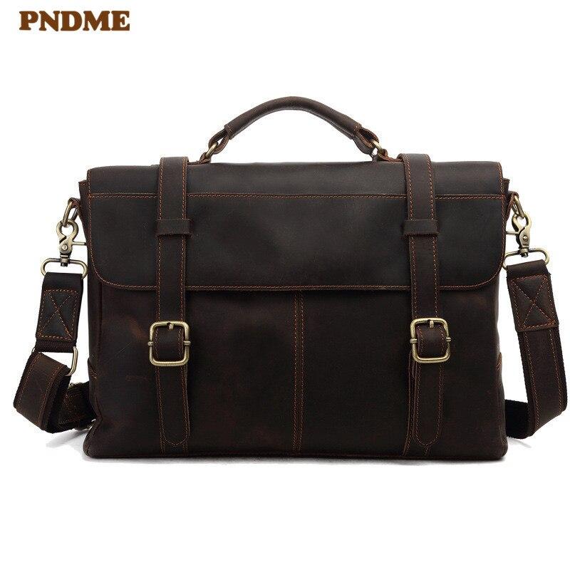 PNDME Fashion Vintage Crazy Horse Cowhide Men's Briefcase Business High Quality Genuine Leather Laptop Shoulder Messenger Bags