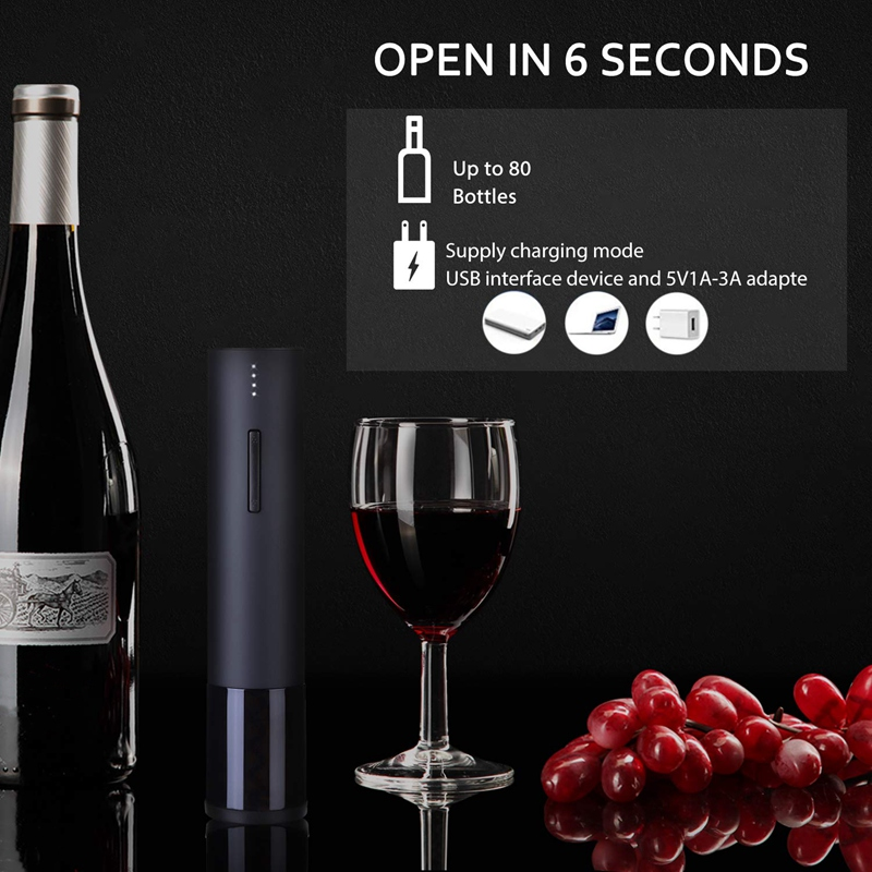 Electric Wine Opener, Rechargeable Automatic Wine Bottle Openers, Durable Stainless Cordless Electric Corkscrew Wine Cork Remove