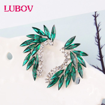 LUBOV 3 styles Colorful Wings Stud Earrings Acrylic Crystal Stone Women Piercing Trendy Wedding Jewelry Christmas Gift - discount item  30% OFF Fashion Jewelry
