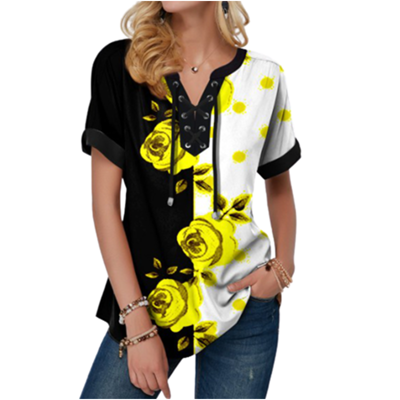 New Summer Women Blouses 3D Print Tie Dye Gradient Tops Casual Short Sleeve V-Neck Lace Up Oversize Shirt 5XL Loose Tops 12