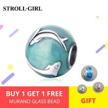 Strollgirl  Sterling Silver 925 Blue-green Enamel Dolphin Beads ocean Charms Fit DIY Pandora Bracelet Women Fashion Jewelry New