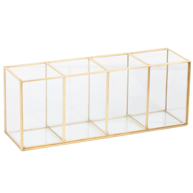 Luxury Clear Glass Makeup Box Cosmetic Storage Box Makeup Brushes Organizer Pencil Lipstick Holder Makeup Tools Organizer Case