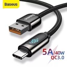 Baseus – Câble USB de charge rapide et transfert de données pour Huawei, chargeur avec affichage LED, type C, 5A, modèle Mate 30 Pro P30 Lite,