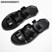 Slides Men Flip Flops Slippers Leather Slippers Casual Gladiator Sandal