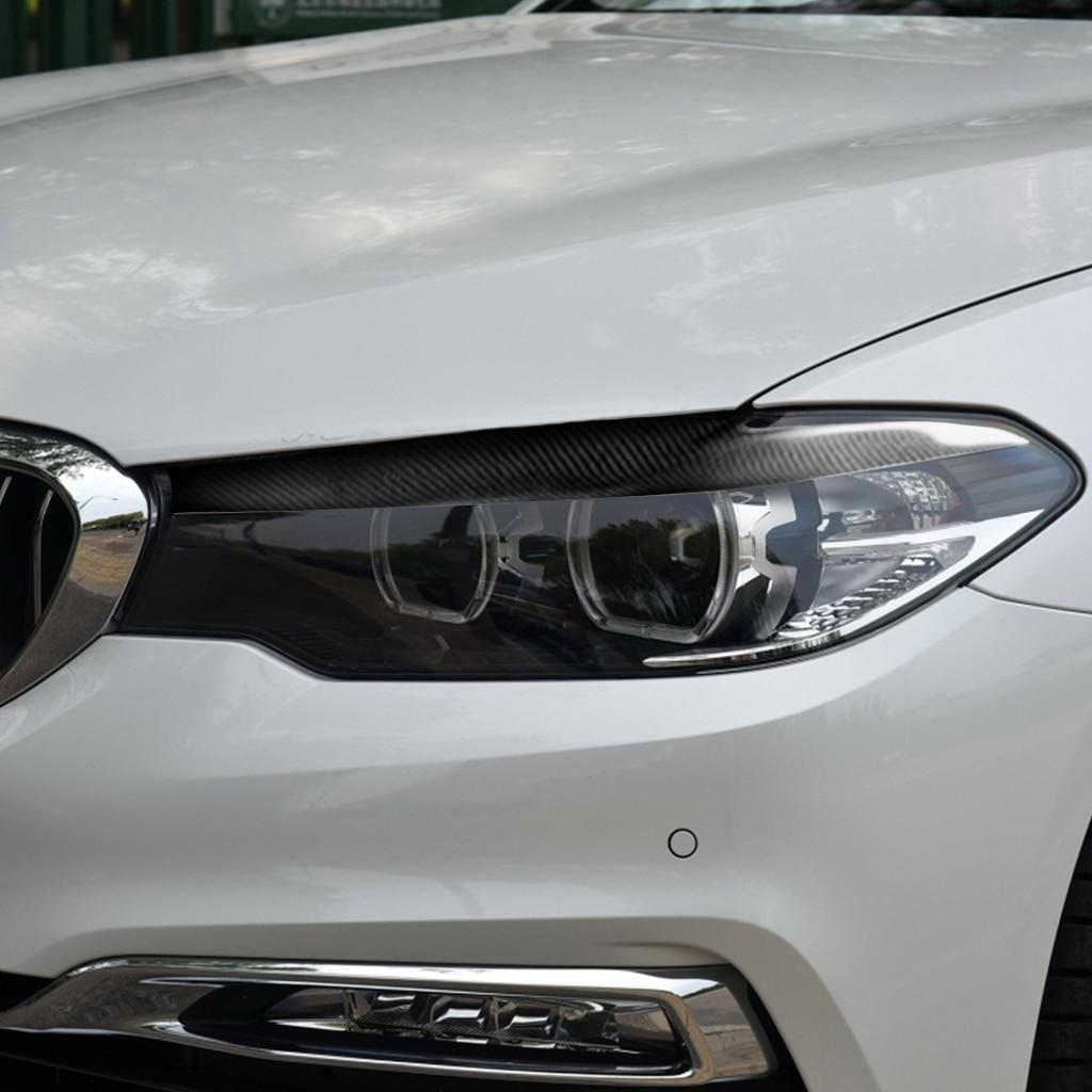 カーボンファイバーヘッドライト眉まぶた BMW 5 シリーズ G30 G38 528li 530li 540li 2018 フロント眉毛
