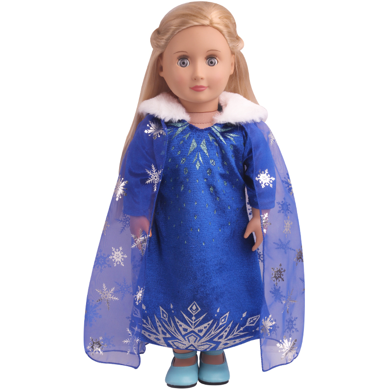 18 Inch Girls Doll Clothes Elsa Blue Dress + Lace Cape American Newborn Skirt Baby Toys Fit 43 Cm Baby Dolls C853