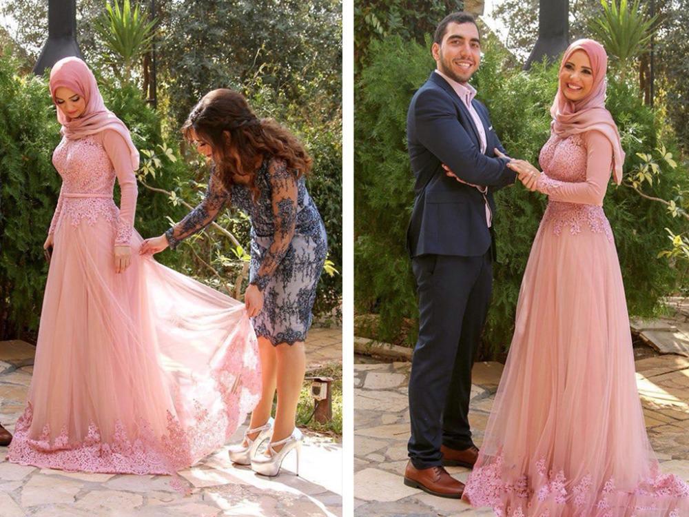 Vestido De Festa Longo Robe De Soiree Lace Appliques Long Sleeve Evening Dresses Muslim 2019 Formal Women Elegant Evening Dress