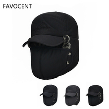 FAVOCENT Men's Ear Protection Face Bomber Hats Thicker Plus